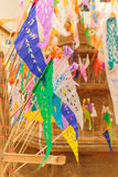 Colorful  flag Tradition culture. In Songkran festival  Thailand Royalty Free Stock Images