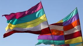 Colorful Flag in the wind stock footage