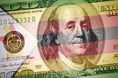 Flag of zimbabwe on a american dollar money background royalty free stock photography