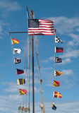 Colorful flags. Assortment of colorful flags outside Stock Images