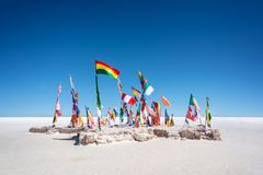 Colorful Flags From All Over the World at Uyuni Salt Flats Bolivia, South America. Colorful Flags From All Over the World at Uyuni Salt Flats, Bolivia, South royalty free stock photography