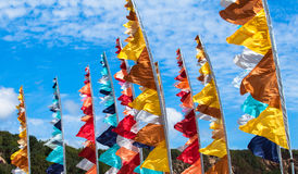 Colorful flags. And blue sky royalty free stock photo