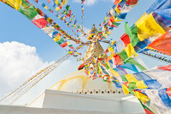 Colorful flags Boudhanath temple stupa Kathmandu. Colorful holy flags on Boudhanath temple stupa Kathmandu Nepal Royalty Free Stock Photo