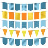 Colorful flags and bunting garlands for decoration. Decor elements with various patterns. Vector illustration Royalty Free Stock Images