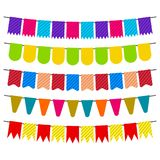 Colorful flags and bunting garlands for decoration. Decor elements with various patterns. Vector illustration Stock Images