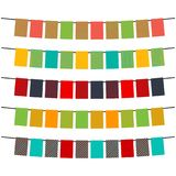 Colorful flags and bunting garlands for decoration. Decor elements with various patterns. Vector illustration Stock Photography