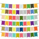 Colorful flags and bunting garlands for decoration. Decor elements with various patterns. Vector illustration Stock Photo