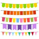 Colorful flags and bunting garlands for decoration. Decor elements with various patterns. Vector illustration Royalty Free Stock Photos