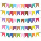 Colorful flags and bunting garlands for decoration. Decor elements with various patterns. Vector illustration Royalty Free Stock Photography