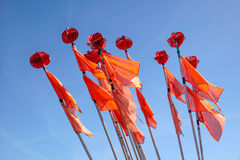 Colorful flags of buoys of a fishing boat Stock Images