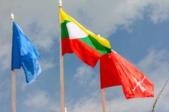 Colorful Of Flags. In A Shan State Army Refugee Camp At Loi Kaw Wan, Muang Sad In Shan State ArmySSA, Burma Royalty Free Stock Photos