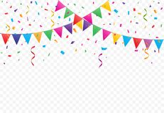 Colorful Flags with Confetti background vector. Colorful Flags with Confetti And Ribbons on transparent background, Party celebration, buntings garlands vector Stock Photo