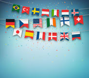 Colorful flags of different countries world. Garland with international banners Stock Photo