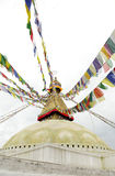 Colorful flags and dome of Swayambhunath Stupa, Kathmandu, Nepal Stock Photos