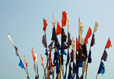 Colorful flags of fishing buoys Stock Images