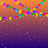 Colorful flags garlands on gradient background. Party decoration. Frame for birthday, carnival, celebration. Vector illustration Royalty Free Stock Photography