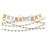 Colorful flags hanging with lights icon design Stock Image