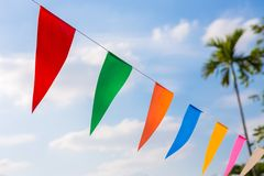 Colorful Flags On Coconut Tree Royalty Free Stock Image