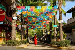 colorful flags and palm trees in Sayulita, Nayarit, Mexico royalty free stock image
