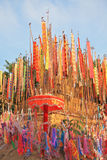 Colorful flags and pennants. Thai New Year - Songkran. Colorful multicolored flags and pennants adorn a special bamboo tower Stock Photography