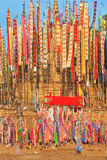 Colorful flags and pennants. Adorn a special bamboo tower.  Thai New Year - Songkran Stock Images