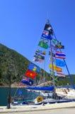 Colorful flags at sailboat Royalty Free Stock Photos