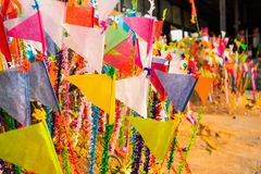 A colorful flags on sandy pagoda in Thai Songkran Festival, Thailand. A colorful flags on sandy pagoda in Thai Songkran Festival Thailand, Backgrounds royalty free stock photos