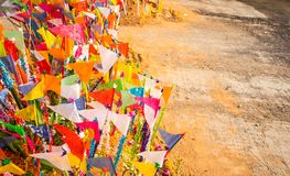 A colorful flags on sandy pagoda in Thai Songkran Festival, Thailand. A colorful flags on sandy pagoda in Thai Songkran Festival Thailand, Backgrounds stock images