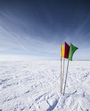 Colorful flags in snowy landscape Stock Images
