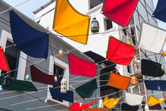 Colorful flags and street lamps Royalty Free Stock Photography