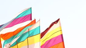 Colorful Flags in the temple stock footage