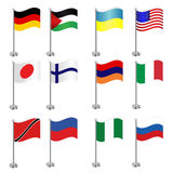 Colorful flags of a variety of nations Stock Images
