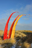 Colorful flags winding at the beach. Royalty Free Stock Photos
