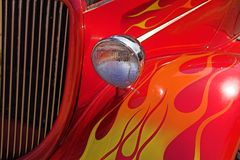 Colorful Flames on 1934 Ford Hotrod. Orange and Red Colorful Flames on 1934 Ford Hotrod Royalty Free Stock Photo