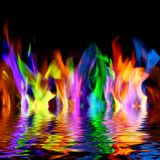 Colorful Flames Stock Photo