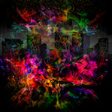 Colorful flames and buildings Royalty Free Stock Photo