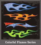 Colorful Flames Series. A set of colorful flames, great for vehicle graphics Stock Photography