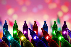 Colorful flashing lights on De focused circle background with copy space Stock Photos