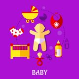 Colorful flat baby design Stock Photography
