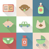 Colorful flat baby icons with shades. Royalty Free Stock Images