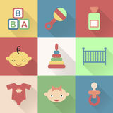 Colorful flat baby icons with shades. Stock Photos