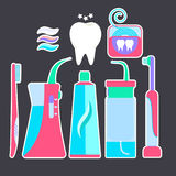 Colorful flat blue and pink tooth hygiene symbols stickers. Nice bright dental morning and evening cleaning teeth signs including toothpaste, toothbrush Royalty Free Stock Photo