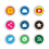Colorful flat button designs of camera, like, messenger bird, ph Stock Images