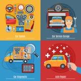 Colorful Flat Car Service Concept Set Stock Image