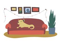 Colorful flat cartoon christmas illustrations with festive christmas decorations, cute dog lying on a couch, plant, frames. royalty free illustration