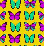 Colorful flat cartoon vector seamless pattern with different butterflies on yellow background.  stock illustration