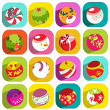 Colorful flat christmas icons Stock Images