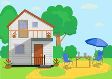 Colorful flat country house with garden objects in flat style . Vector illustration. The facade of the colorful eco cottage house with chairs, table, parasol royalty free illustration