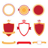 Colorful flat design badges collection. Vector badges, labels and ribbon banners. Stock Image