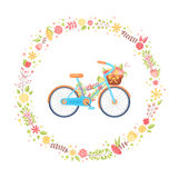Colorful flat elegant bicycle with flowers in the basket Royalty Free Stock Photos
